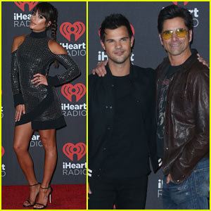 Lea Michele Joins Co-Stars Taylor Lautner & John Stamos at iHeartRadio Music Festival!