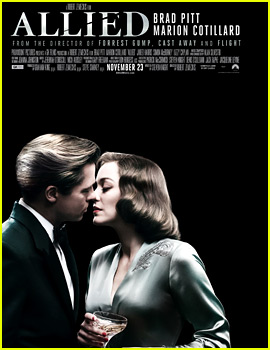Brad Pitt Leans in to Kiss Marion Cotillard on 'Allied' Poster
