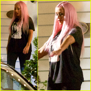 Christina Aguilera Shows Off Pink Hair on the Set of 'Life of the Party'