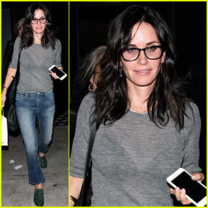 Courteney Cox Wears Sheer Top for Dinner at Craig's