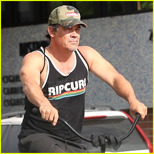 Josh Brolin Puts His Muscles on Display During a Bike Ride