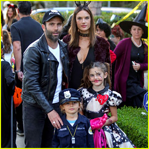 Alessandra Ambrosio Wears Bunny Ears While Trick-or-Treating with Her Kids!