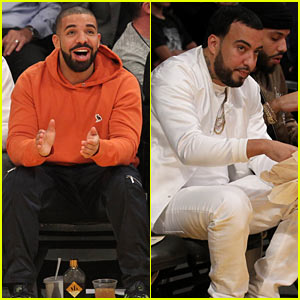 Drake Watches French Montana Shoot the Ball at Lakers-Warriors Basketball Game!