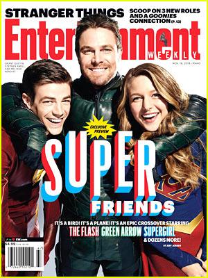 Grant Gustin, Stephen Amell, & Melissa Benoist Suit Up for 'EW' Cover!