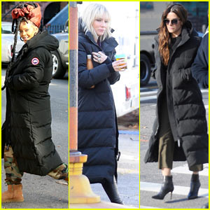 Rihanna, Cate Blanchett, & Sandra Bullock Brave the Cold While Filming 'Ocean's Eight'