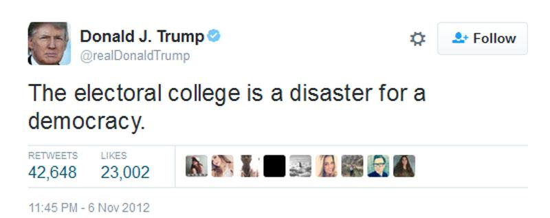 Donald Trump's 2012 Tweet About Electoral College ...