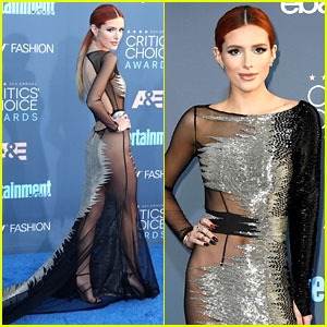 Bella Thorne Wears No Underwear with Sheer Dress at Critics' Choice Awards 2016