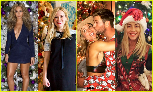 Celebs Share Their Christmas Tree Photos - See 42 Festive Pics!