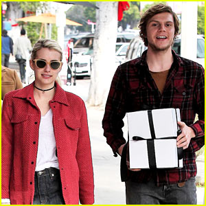 Emma Roberts & Fiance Evan Peters Step Out to Mail Their Holiday Gifts!