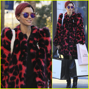 Ruby Rose Matches New Pink Hair with Her Coat