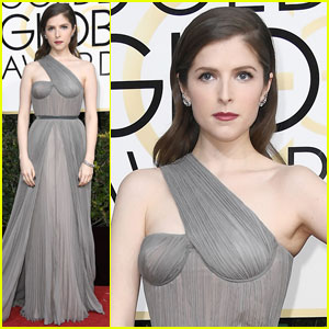 Anna Kendrick is Gorgeous in Gray at Golden Globes 2017