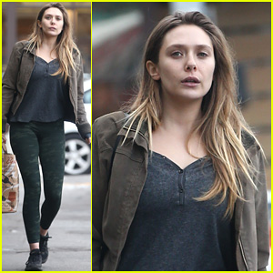 Elizabeth Olsen Rocks Camo Leggings for Her Casual Outing