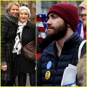 Jake Gyllenhaal Wears 'Women Are Powerful & Dangerous' Button at Women's March, Joins Helen Mirren & More!
