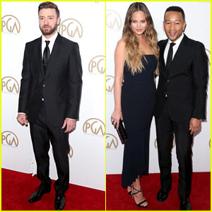 Justin Timberlake Joins Chrissy Teigen & John Legend at the Producers Guild Awards