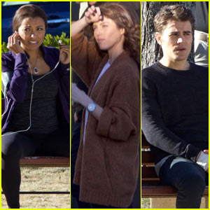 Paul Wesley & Kat Graham Film 'Vampire Diaries' with Former Co-Star Kayla Ewell!