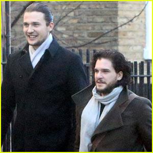 Kit Harington & Much Taller Friend Step Out to Run Errands