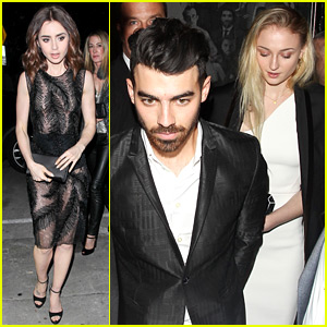 Lily Collins & Sophie Turner Get Ready for Globes at CAA Party
