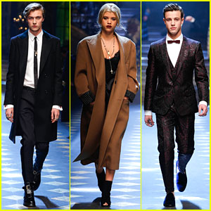 a17afdc1 Lucky Blue Smith, Sofia Richie, & Cameron Dallas Walk Doce&Gabbana Milan  Runway
