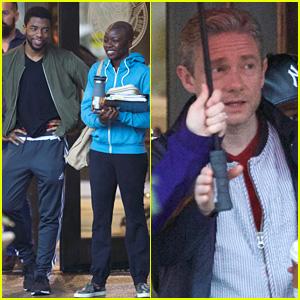Martin Freeman Joins Chadwick Boseman & 'Black Panther' Cast on Set in Atlanta!