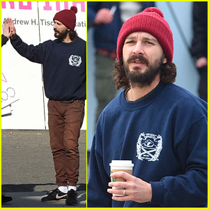 Shia LaBeouf Rallies the Crowd at 'He Will Not Divide Us' Art Show