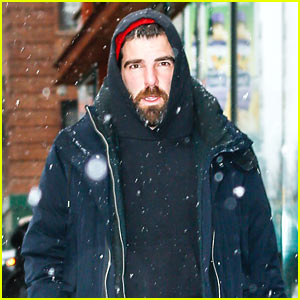 Zachary Quinto Braves the Snow to Walk His Dogs