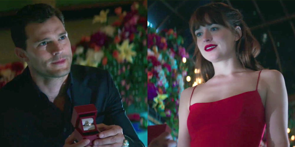 christian proposes to anastasia in new fifty shades video  christian proposes to anastasia in new fifty shades video dakota johnson fifty shades darker fifty shades of grey jamie dornan movies just jared