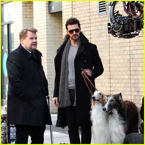 James Corden & Richard Armitage Film 'Ocean's Eight' in NYC