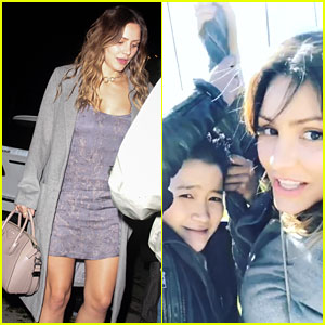 Katharine McPhee & Co-Star Jadyn Wong Hang Out On Set