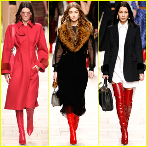 Kendall Jenner Walks Alongside Hadid Sisters For Fendi Show