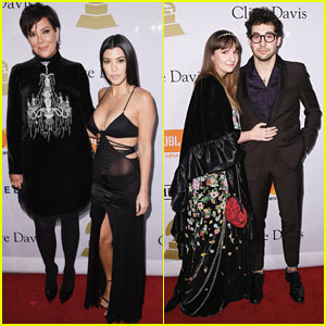 Kourtney Kardashian & Kris Jenner Spend The Night at Clive Davis' Pre-Grammys Party