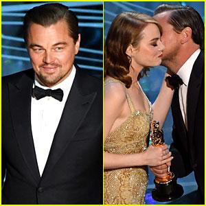 Leonardo DiCaprio Awards Emma Stone Her Academy Award at Oscars 2017!