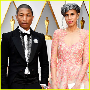 Pharrell Williams Poses with Producing Partner Mimi Valdes at Oscars 2017!