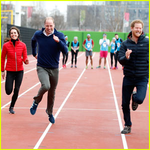 Prince Harry Races William & Kate at London's Olympic Park
