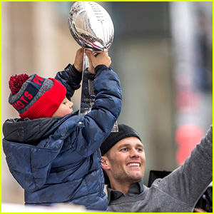 Tom Brady's Son Benjamin Holds the Lombardi Trophy During