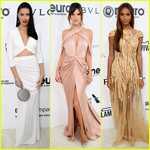 Victoria's Secret Angels Share Kisses, Selfies, & So Much Glam at Elton John's Oscars Party