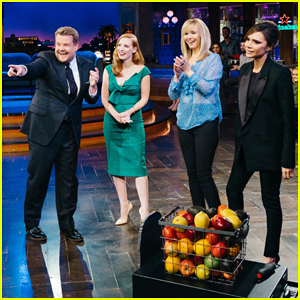 James Corden Fires Fruit At Victoria Beckham, Jessica Chastain & Lisa Kudrow With 'Flinch' Sketch!