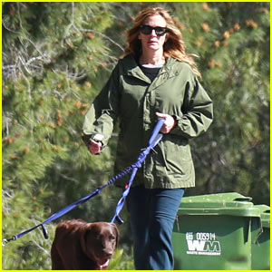 Julia Roberts Takes Her Dogs for a Walk in Malibu