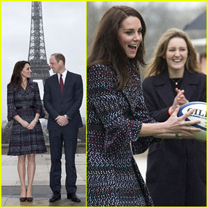 Kate Middleton & Prince William Join a Rugby Team at the Eiffel Tower in Paris!