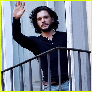 Kit Harington Films a Commercial in Italy