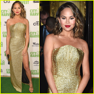 Chrissy Teigen Stuns in Gold at City Harvest Event in NYC