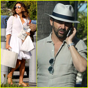Eva Longoria & Jose Baston Show Some PDA Before Catching Private Jet Out of LA