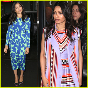 Freida Pinto Promotes Her Upcoming Show 'Guerrilla' in NYC