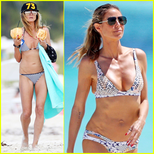 Heidi Klum Rocks Tiny Bikini Collection on Tropical Vacation