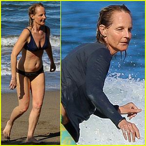 Helen Hunt Goes Surfing in a Bikini During Hawaiian Vacation