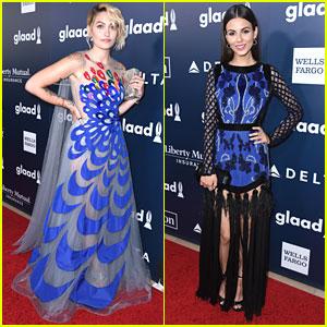 Paris Jackson & Victoria Justice Stick To Blue Theme At GLAAD Media Awards 2017