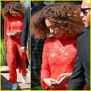 Solange Knowles Rocks Red Lace Jumpsuit at Coachella 2017