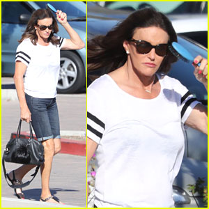 Caitlyn Jenner Brushes Her Hair While Out Running Errands