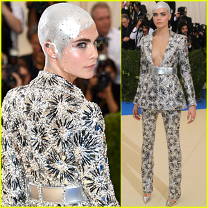 Cara Delevingne Covers Her Bald Head with Crystals at Met Gala