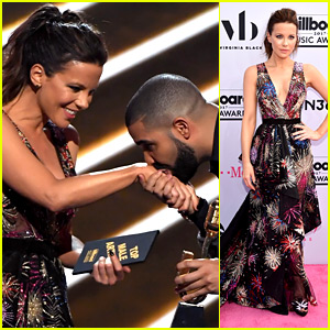 Drake Kisses Kate Beckinsale's Hand Upon Win at Billboard Music Awards 2017