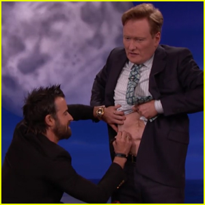 Justin Theroux Gives Conan O'Brien a Tattoo - Watch Now!